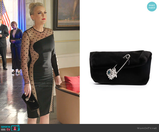 Safety Pin-Embellished Velvet Clutch by Burberry worn by Alexis Carrington (Elaine Hendrix) on Dynasty
