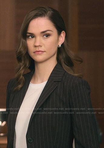 Callie's black pinstripe blazer on Good Trouble
