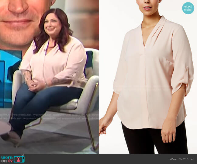 Pleated-Neck Blouse by Calvin Klein worn by Carnie Wilson on E! News Daily Pop