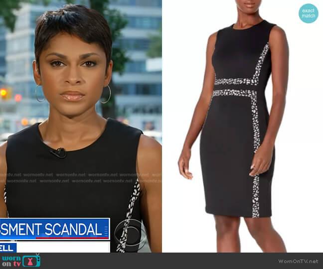 Sleeveless Colorblock Sheath Dress by Calvin Klein worn by Jericka Duncan on CBS Evening News