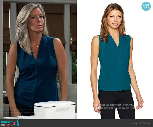 Sleeveless Woven V-neck Top by Calvin Klein worn by Carly Corinthos (Laura Wright) on General Hospital