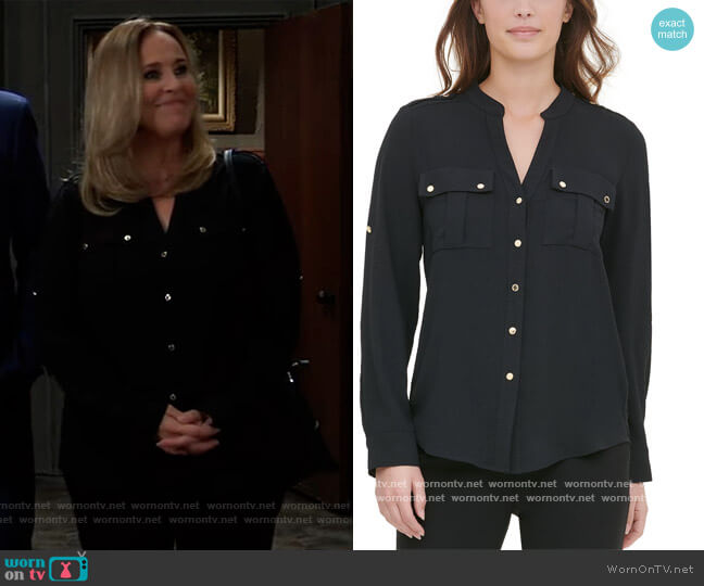 Textured Roll-Tab Blouse by Calvin Klein worn by Laura Collins (Genie Francis) on General Hospital