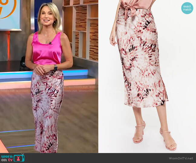 Jessika Skirt in Blush Tie Dye by Cami NYC worn by Amy Robach  on Good Morning America
