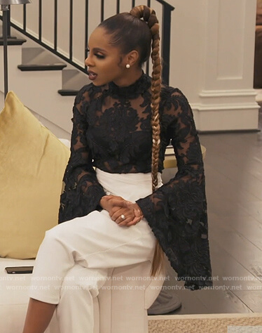 Wendy's white fuzzy knit robe and top on The Real Housewives of Potomac
