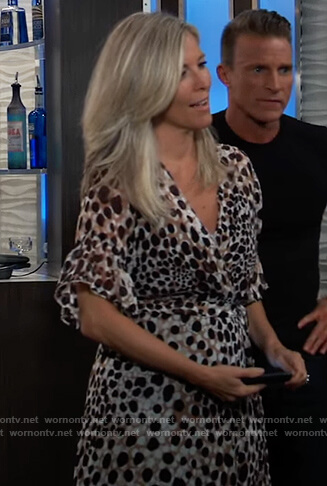 Carly's printed wrap dress on General Hospital