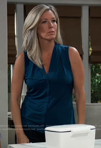 Carly's teal sleeveless top on General Hospital