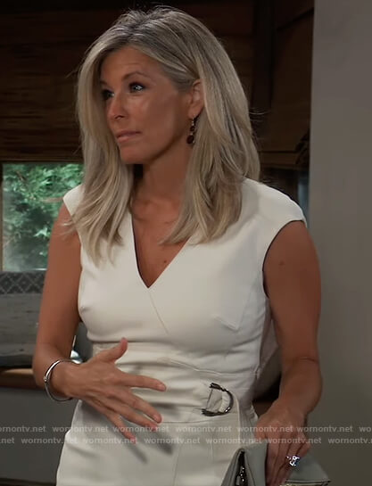 Carly's white belted jumpsuit on General Hospital