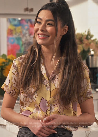 Carly's yellow floral button down top on iCarly