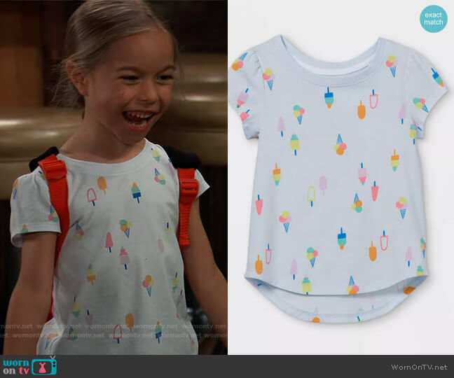 Popsicle Short Sleeve T-Shirt by Cat & Jack worn by Jophielle Love on General Hospital