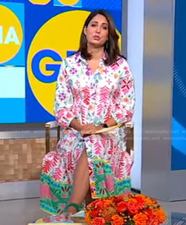 Cecilia's white floral shirtdress on Good Morning America