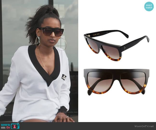 58mm Universal Fit Flat Top Sunglasses by Celine worn by Askale Davis on The Real Housewives of Potomac
