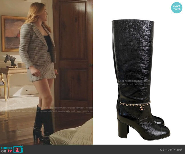 Calfskin with Chain High Boots by Chanel worn by Kirby Anders (Maddison Brown) on Dynasty
