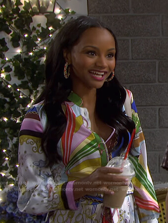 Chanel's mixed print shirtdress on Days of our Lives
