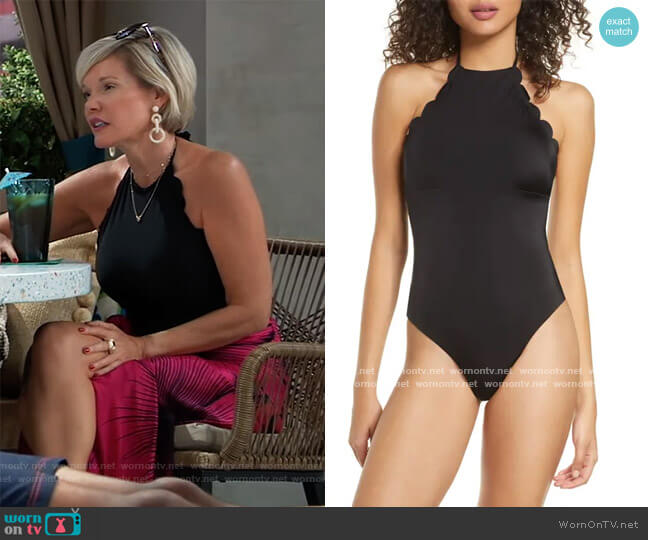High Neck Scalloped One-Piece Swimsuit by Chelsea28 worn by Ava Jerome (Maura West) on General Hospital