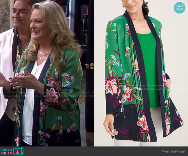 Reversible Floral To Solid Open-Front Jacket by Chicos worn by Anna DiMera (Leann Hunley) on Days of our Lives
