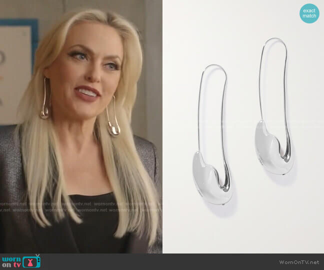 Trudie Silver-Tone Earrings by Chloe worn by Alexis Carrington (Elaine Hendrix) on Dynasty