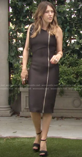 Chloe's black sleeveless zip front dress on The Young and the Restless