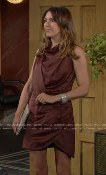 Chloe's draped satin dress on The Young and the Restless