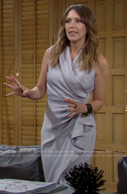 Chloe's grey ruffled wrap dress on The Young and the Restless