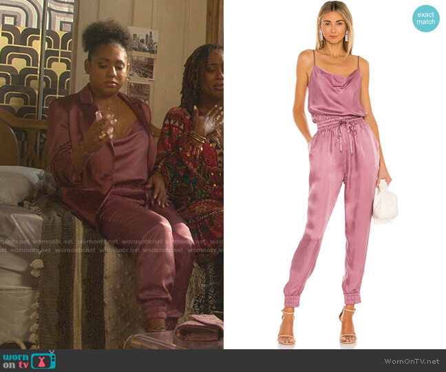 Finnley Jumpsuit by Cinq a Sept worn by Liisi LaFontaine on Good Trouble