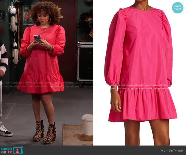 Jackie Puff-Sleeve Mini Dress by Cinq a Sept worn by Jade (Talia Jackson) on Family Reunion
