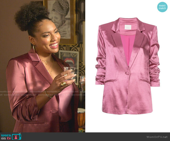 Kylie Ruched Hammered-satin Blazer by Cinq a Sept worn by Liisi LaFontaine on Good Trouble