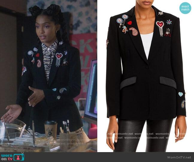 Love Cheyenne Embellished Blazer by Cinq a Sept worn by Zoey Johnson (Yara Shahidi) on Grown-ish