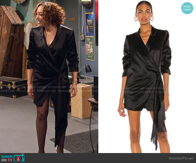 Shannon Blazer Dress by Cinq a Sept worn by Cocoa McKellan (Tia Mowry-Hardrict) on Family Reunion