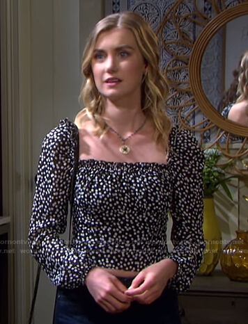 Claire's black polka dot cropped top on Days of our Lives