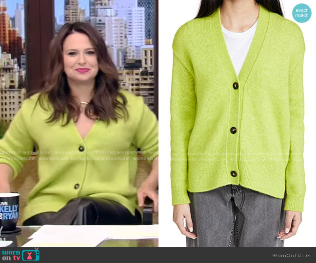 Knit Cardigan in Bitter Lemon by Closed worn by Katie Lowes on Live with Kelly and Ryan