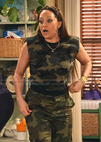 Cocoa's camo padded shoulder top and cargo pants on Family Reunion