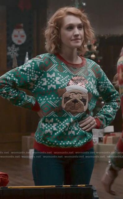 Corinne's Christmas pug sweater on The Republic of Sarah