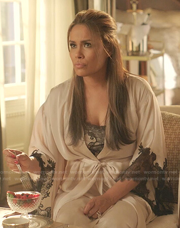 Cristal's white lace-trim robe on Dynasty