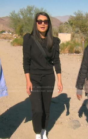 Crystal's black embellished puff sleeve sweatshirt on The Real Housewives of Beverly Hills