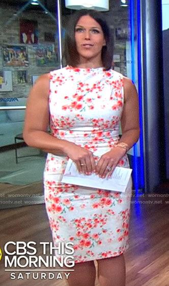 Dana Jacobson's rose print sleeveless dress on CBS This Morning