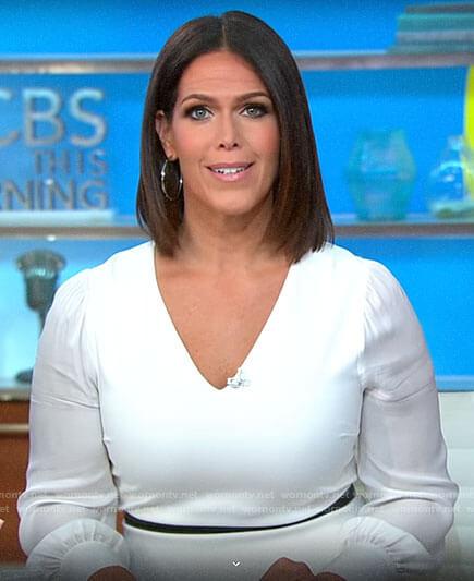 Dana Jacobson's white v-neck dress on CBS This Morning