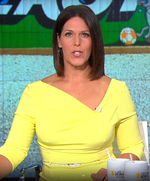 Dana Jacobson's yellow asymmetric neck dress on CBS This Morning