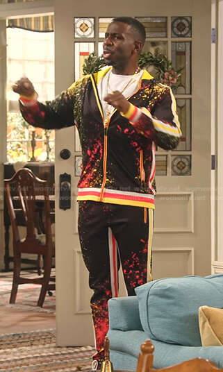 Daniel's spray paint print hoodie and pants on Family Reunion