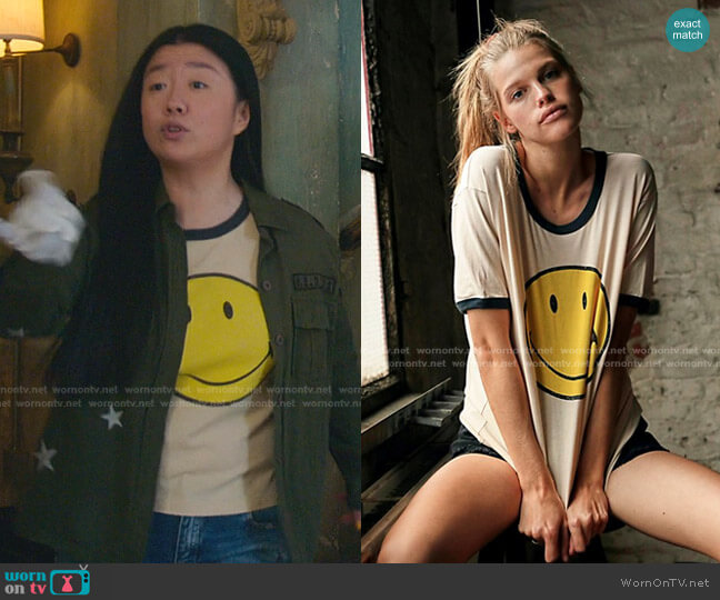 Classic Smiley Ringer Tee in Sand by Daydreamer x Free People worn by Alice Kwan (Sherry Cola) on Good Trouble