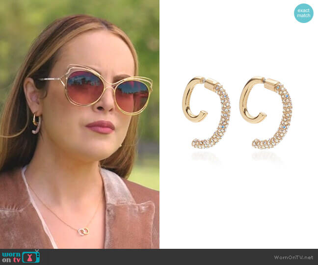 Convertible Pave Luna Earrings by Demarson worn by Fallon Carrington (Elizabeth Gillies) on Dynasty