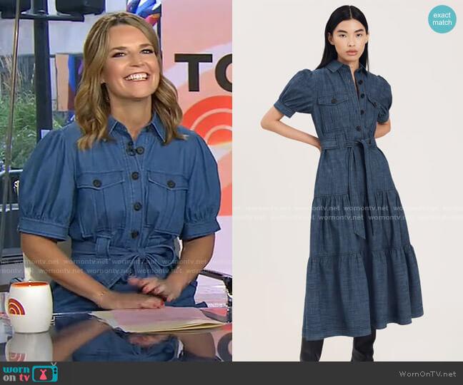 Buffy Utility Dress in Indigo by Derek Lam 10 Crosby worn by Savannah Guthrie  on Today