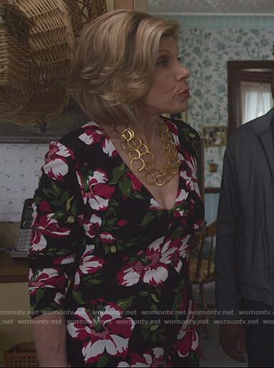 Diane's black floral print dress on The Good Fight