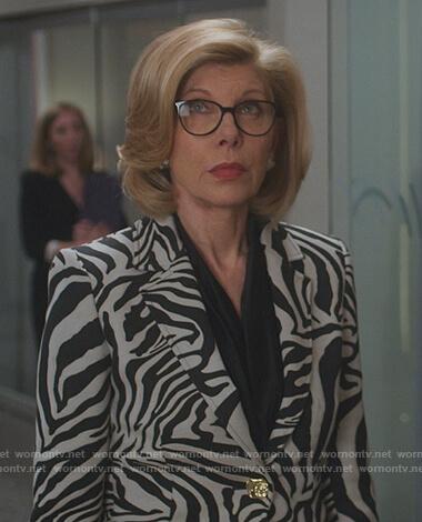 Diane's zebra stripe blazer on The Good Fight