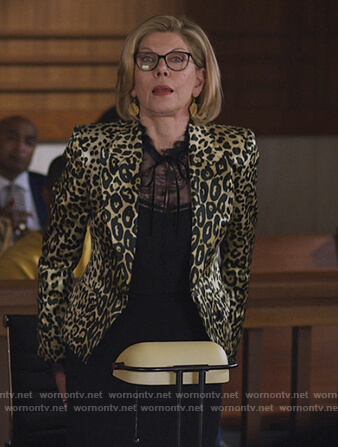 Carmen's black plaid coat with leather sleeves on The Good Fight