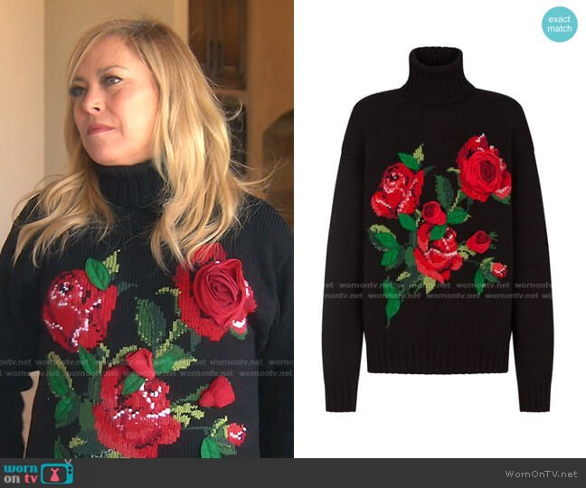 3D Rose-Intarsia Roll-Neck Jumper by Dolce & Gabbana worn by Sutton Stracke  on The Real Housewives of Beverly Hills