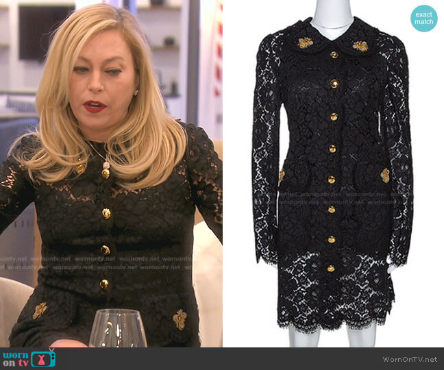 Black Floral Lace Bee Appliqued Shift Dress by Dolce & Gabbana worn by Sutton Stracke  on The Real Housewives of Beverly Hills
