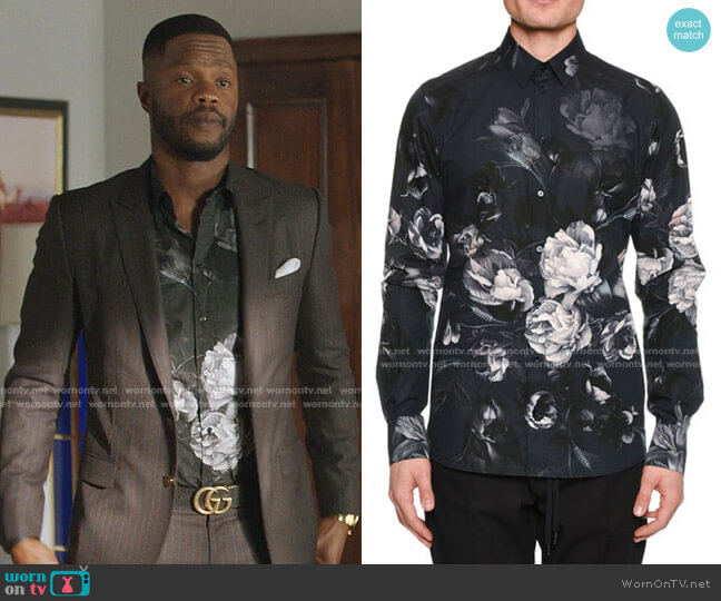 Button-Down Long-Sleeve Floral-Print Shirt by Dolce & Gabbana worn by Jeff Colby (Sam Adegoke) on Dynasty