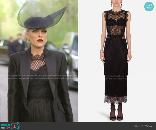 Lace Sheath Dress with Fringing by Dolce & Gabbana worn by Alexis Carrington (Elaine Hendrix) on Dynasty