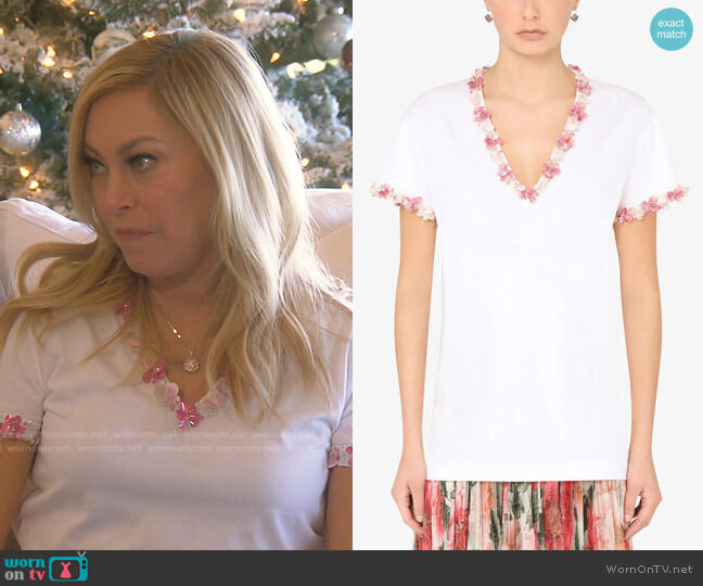 Floral Appliqué T-shirt by Dolce & Gabbana worn by Sutton Stracke  on The Real Housewives of Beverly Hills
