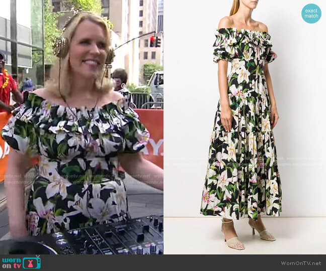Floral Print Bardot Maxi Dress by Dolce & Gabbana worn by Marjorie Gubelmann on Today
